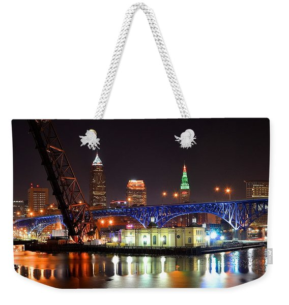 Night Time In Cleveland Weekender Tote Bag