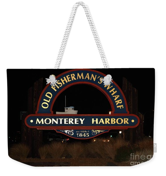 Nightfall At The Old Fishermans Wharf At The Monterey Harbor California 5d25175 Weekender Tote Bag