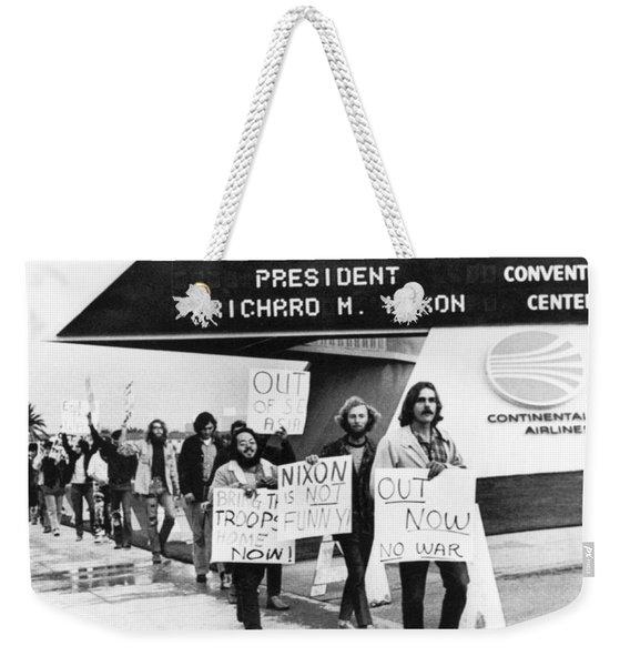 Nixon Protest In Anaheim Weekender Tote Bag