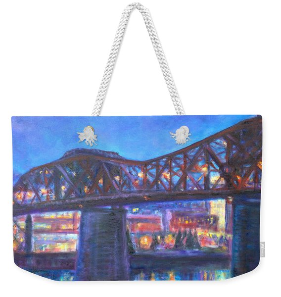 City At Night Downtown Evening Scene Original Contemporary Painting For Sale Weekender Tote Bag