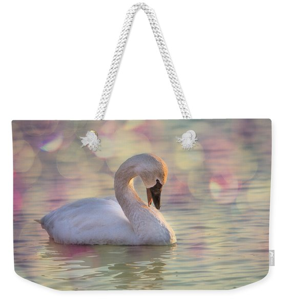 Weekender Tote Bag featuring the photograph Shy Swan by Patti Deters