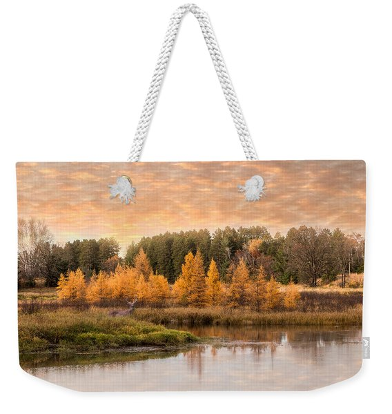 Weekender Tote Bag featuring the photograph Tamarack Buck by Patti Deters