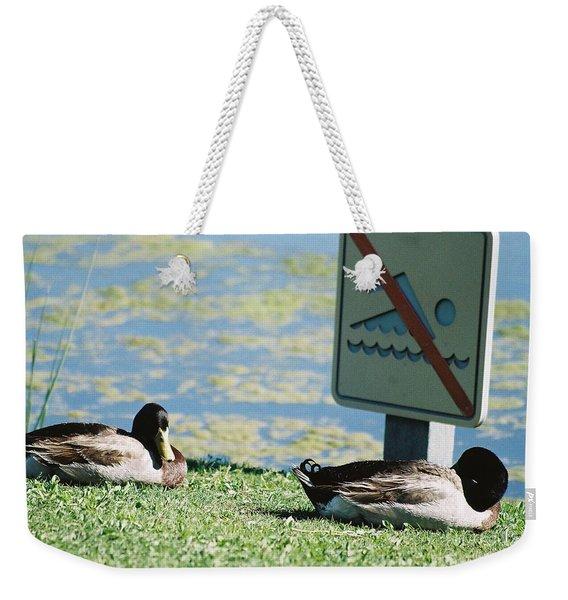 No Swimming Weekender Tote Bag