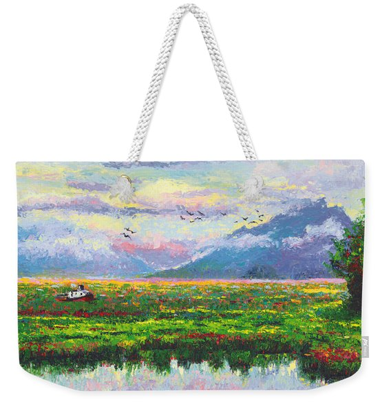 Weekender Tote Bag featuring the painting Nomad - Alaska Landscape With Joe Redington's Boat In Knik Alaska by Talya Johnson