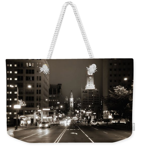 North Broad Facing City Hall Weekender Tote Bag