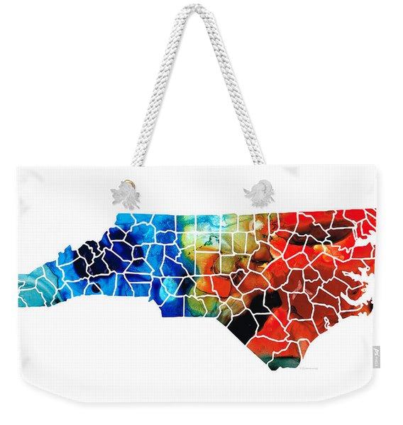 North Carolina - Colorful Wall Map By Sharon Cummings Weekender Tote Bag