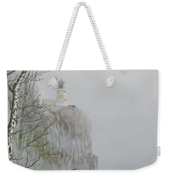 North Shore Lighthouse In The Fog Weekender Tote Bag