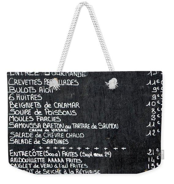 Nos Plats A La Carte Weekender Tote Bag