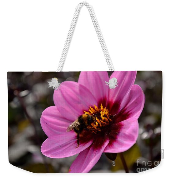 Weekender Tote Bag featuring the photograph Nosy Bumble Bee by Scott Lyons