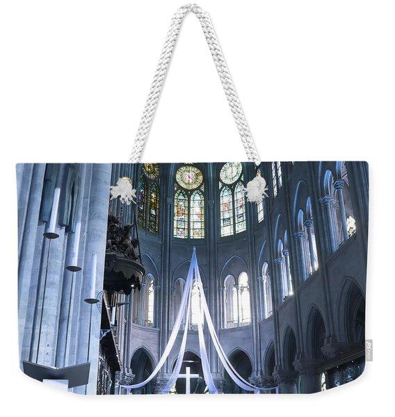 Notre Dame Altar Teal Paris France Weekender Tote Bag