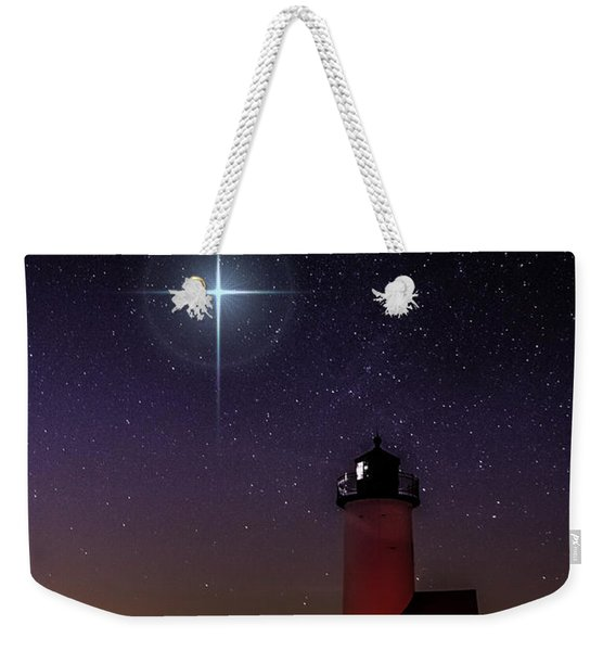 Weekender Tote Bag featuring the photograph Star Over Annisquam Lighthouse by Jeff Folger