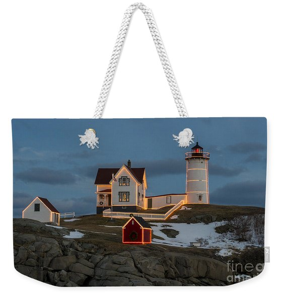 Nubble Lighthouse At Christmas Weekender Tote Bag