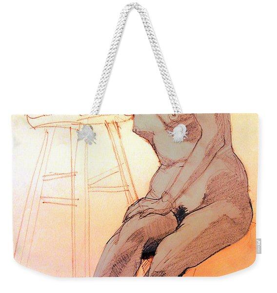 Nude Woman Leaning On A Barstool Weekender Tote Bag