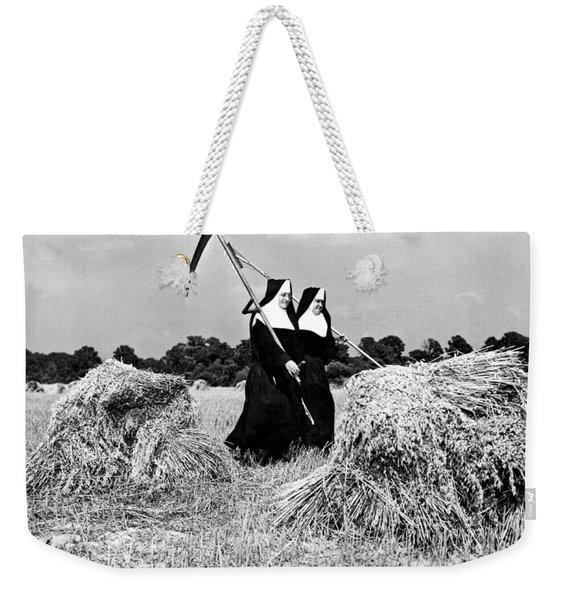 Nuns Harvest Oats In Fields Weekender Tote Bag