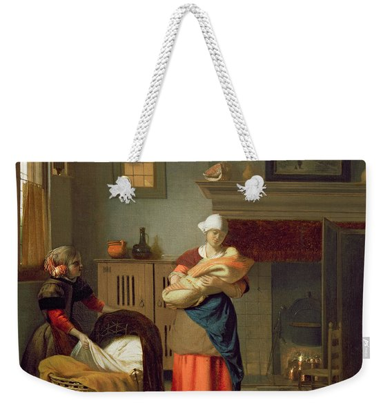 Nursemaid With Baby In An Interior And A Young Girl Preparing The Cradle Weekender Tote Bag