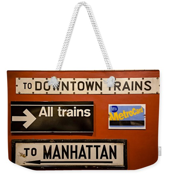 Nyc Subway Signs Weekender Tote Bag