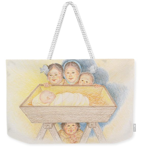O Come Little Children - Christmas Card Weekender Tote Bag