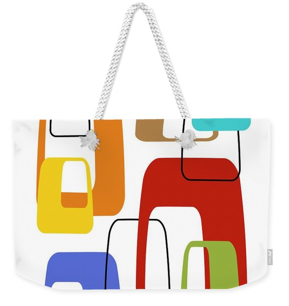 Weekender Tote Bag featuring the digital art Oblongs On White 4 by Donna Mibus