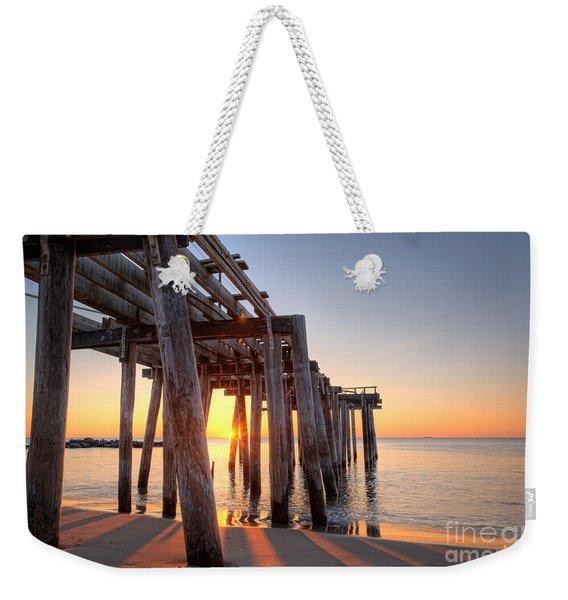 Ocean Grove Pier Sunrise Weekender Tote Bag