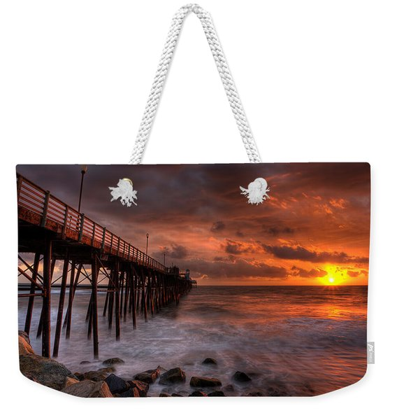 Oceanside Pier Perfect Sunset -ex-lrg Wide Screen Weekender Tote Bag