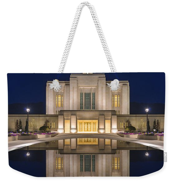 Ogden Temple Reflection Weekender Tote Bag