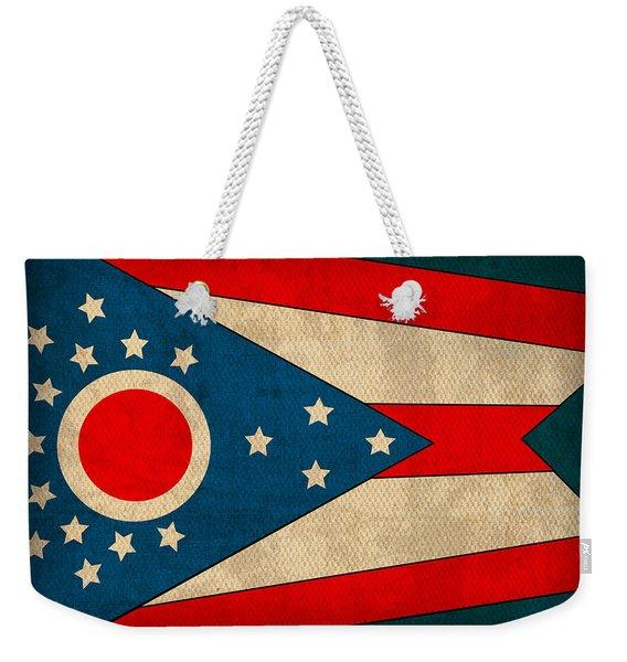 Ohio State Flag Art On Worn Canvas Weekender Tote Bag