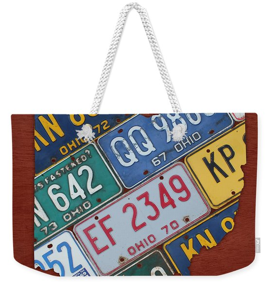Ohio State Map Made Using Vintage License Plates Weekender Tote Bag