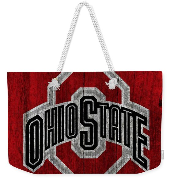 Ohio State University On Worn Wood Weekender Tote Bag