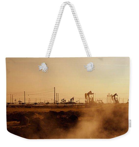 Oil Drills In A Field, Maricopa, Kern Weekender Tote Bag