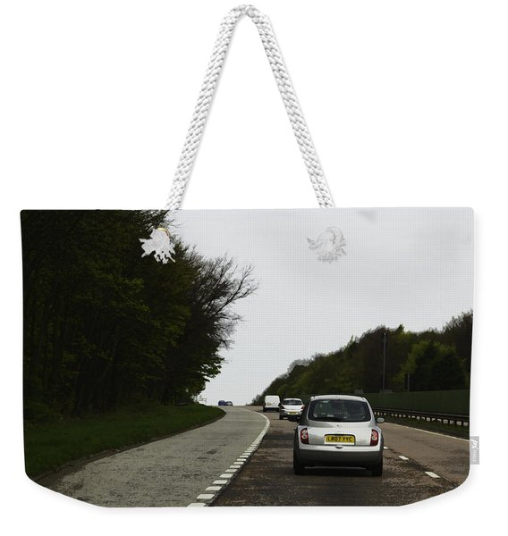 Oil Painting - Nissan Micra On The Streets Of Scotland With Greenery On Both Sides Weekender Tote Bag