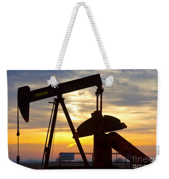 Oil Pump Sunrise Weekender Tote Bag