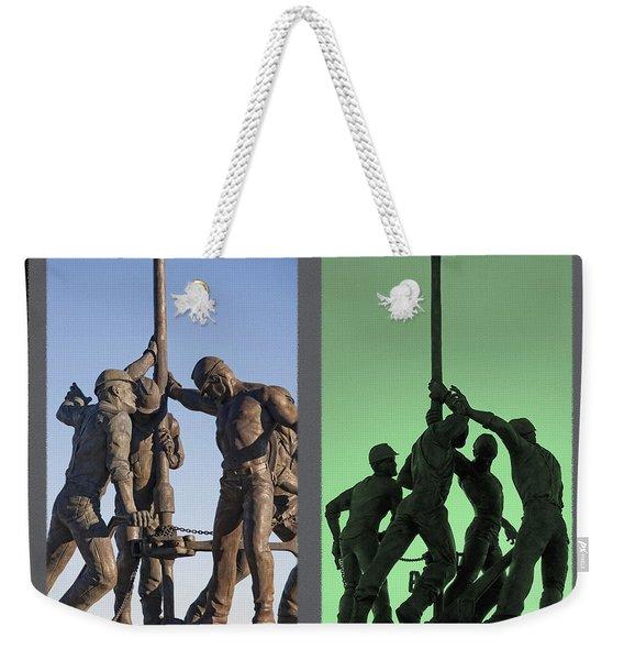 Oil Rig Workers Diptych Weekender Tote Bag