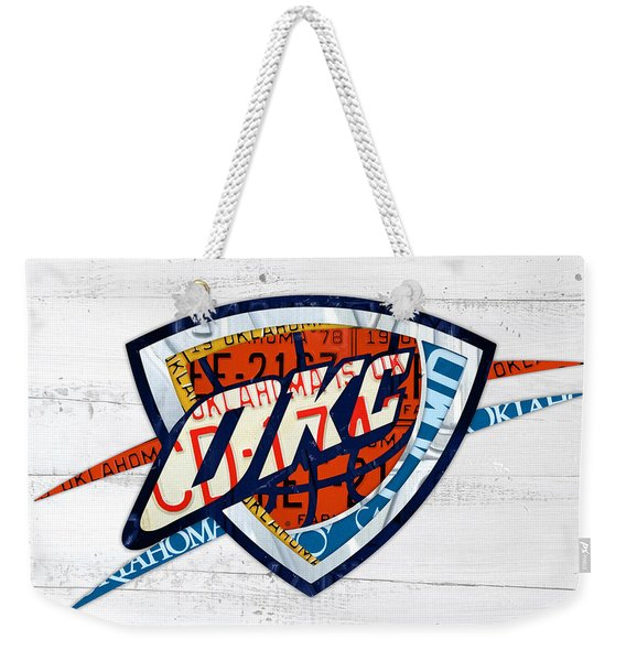 Okc Thunder Basketball Team Retro Logo Vintage Recycled Oklahoma License Plate Art Weekender Tote Bag