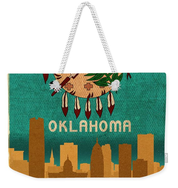 Oklahoma City Skyline Flag Of Oklahoma Art Poster Series 002 Weekender Tote Bag