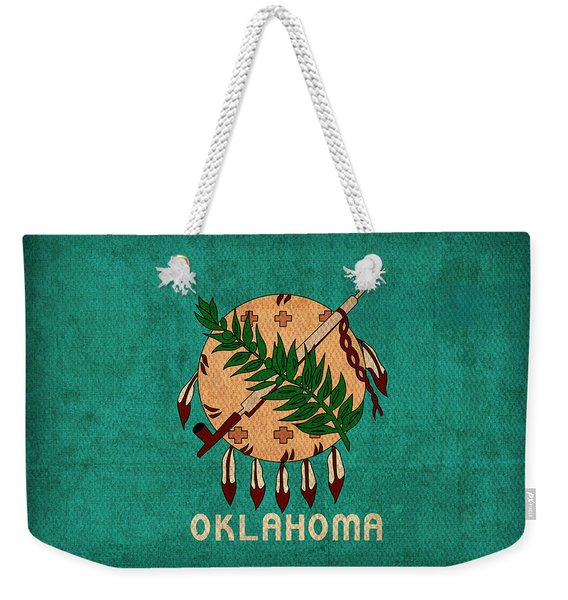 Oklahoma State Flag Art On Worn Canvas Weekender Tote Bag