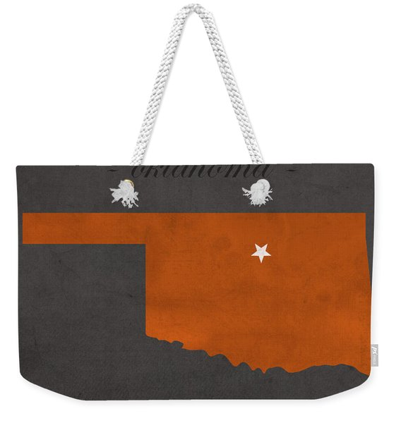 Oklahoma State University Cowboys Stillwater College Town State Map Poster Series No 084 Weekender Tote Bag