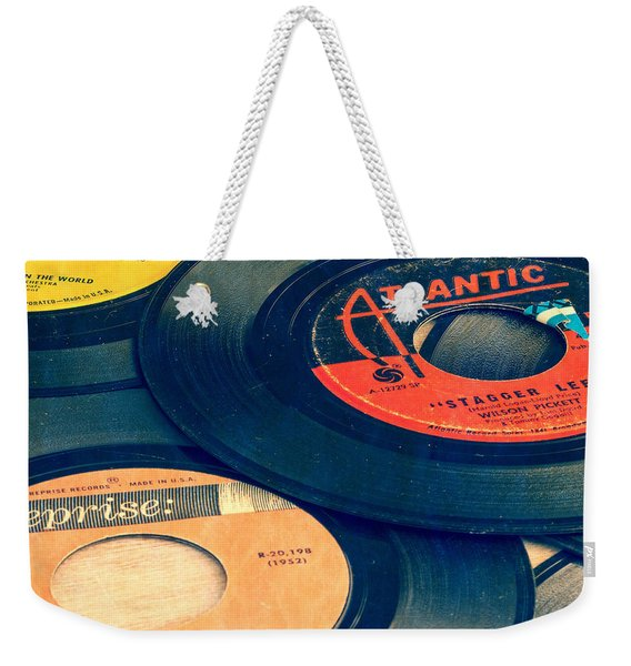Old 45 Records Square Format Weekender Tote Bag