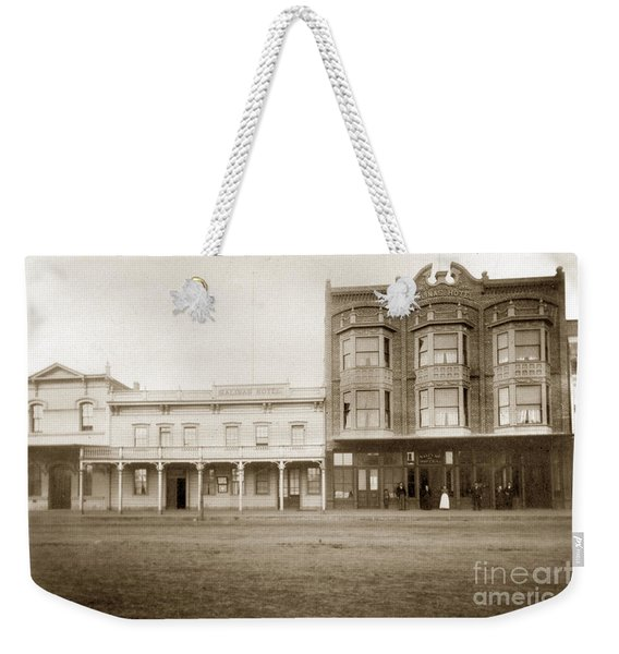 Old And New Salinas Hotel Was On West Market Street Circa 1885 Weekender Tote Bag