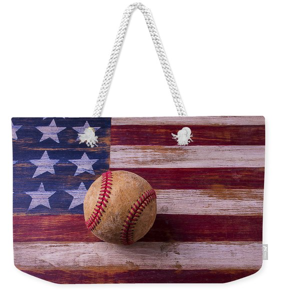 Old Baseball On American Flag Weekender Tote Bag