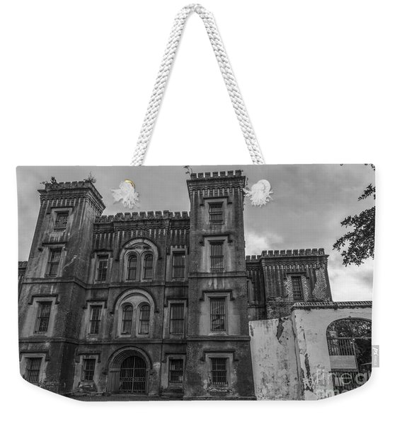 Old City Jail In Black And White Weekender Tote Bag