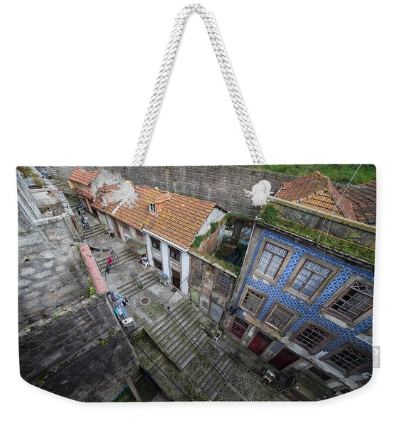 Old City Of Porto In Portugal From Above Weekender Tote Bag