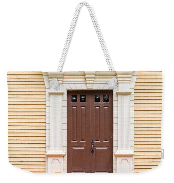 Old Colonial Era Front Door With Pumpkins Weekender Tote Bag