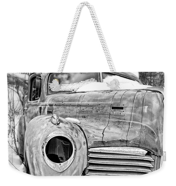 Old Hudson In The Snow Black And White Weekender Tote Bag