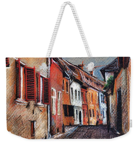 Old Medieval Street In Sighisoara Citadel Romania Weekender Tote Bag