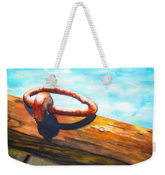 Old Mooring Ring On Wood Dock Weekender Tote Bag