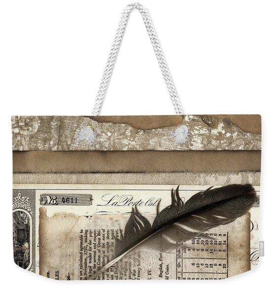 Old Papers And A Feather Weekender Tote Bag
