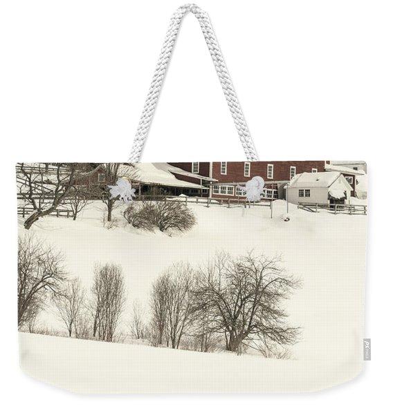 Old Red New England Barn In Winter Weekender Tote Bag