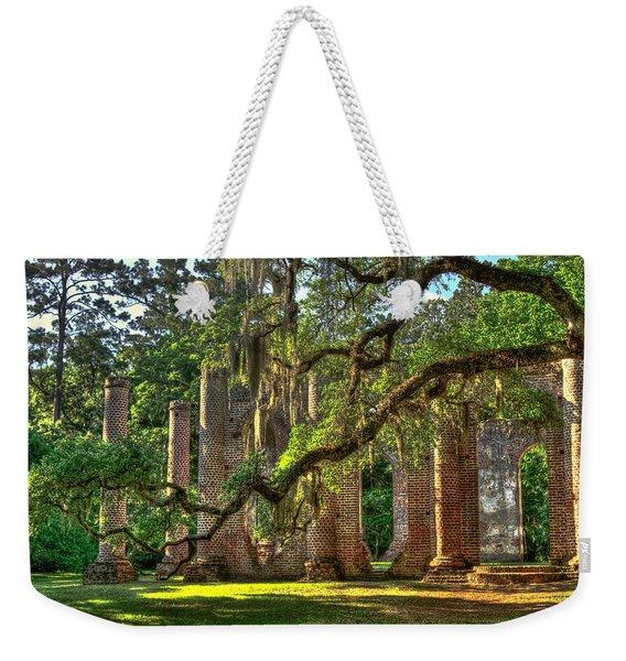 Old Sheldon Church Sundown Oak Weekender Tote Bag