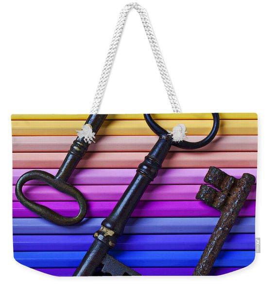 Old Skeleton Keys On Rows Of Colored Pencils Weekender Tote Bag
