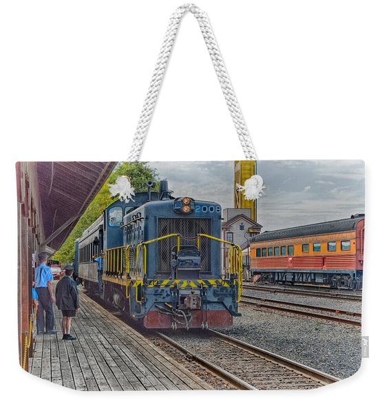Weekender Tote Bag featuring the photograph Old Town Sacramento Railroad by Jim Thompson